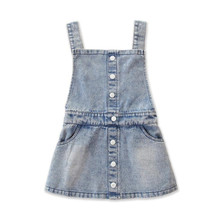 DFXD Fashion Summer Kids Girl Denim Jeans Overalls Dress Single-breasted Denim Suspender Dress Baby Bib Dress 2-7T Girls Clothes girls single breasted denim skirt