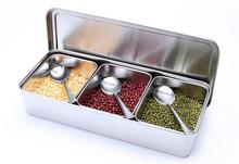 Stainless Steel Spice Box with Lid Salt Pepper Seasoning Spice jar sauce bottle kitchen Spice Container With Spoons somubi stainless steel glass seasoning bottle salt storage box spice jar with spoon kitchen supplie for salt sugar pepper powder