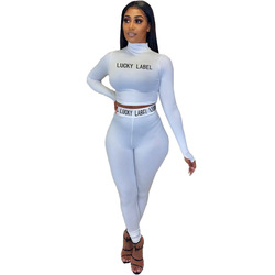 Causal Women Two Piece Set Letter Print Full Sleeve Crop Top + Long Pants Sportsuit Tracksuit Women Outfit