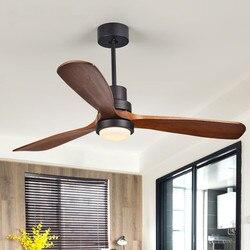 Nordic wentylator sufitowy z lampą osobowość twórcza dla pokój dzienny z litego drewna wentylator światła 2.4G RF zdalnego sterowania LED Chip AC220V