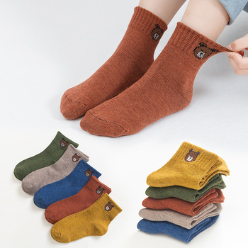 5 Pairs Baby Boys Winter Socks Cartoon Bear Kids Spring Autumn Cotton Breathable Keep Warm Floor Anti-skid Girls Socks 1