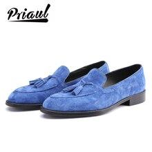 Sapatos de camurça masculinos de couro genuíno, loafer casual para homens, vestido de escritório, marca de luxo