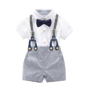 цена на Baby Boys Gentleman Outfits Suits, Infant Short Sleeve Shirt+Bib Pants+Bow Tie Overalls Clothes Set