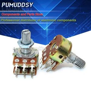5PCS B1K B2K B5K B10K B20K B100K B250K B1M 6Pin Shaft WH148 15MM Amplifier Dual Stereo Potentiometer 1K 2K 5K 10K 50K 100K 250K