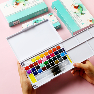 Solid Watercolor Paint Set Box With Paint Brush Pen Portable Water Color Pigment For School Students Beginner Art Supplies