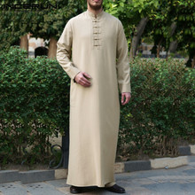 Mens Vintage Muslim Robes Solid Color Jubba Thobe Long Sleeve Stand Collar Middle East Robes Buttons Dubai Kaftan Thobe INCERUN