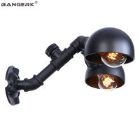 Vintage Edison Sconce Wall Lights Industrial Black Water Pipe LED Wall Lamp Double Loft Decor Wall Light Home Lighting Fixtures