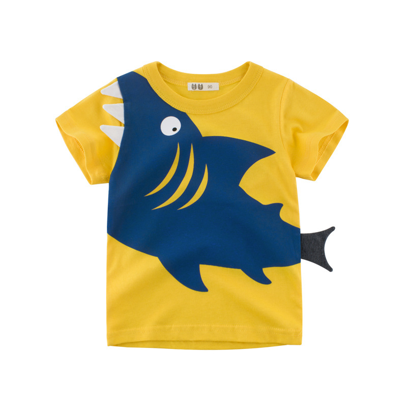 Tees T-Shirt Meninos Roupas de Bebê-Boys Crianças Dos Desenhos Animados Outwear Tops Carro-Impressão do Algodão para Crianças Impressão Tubarão Verão criança