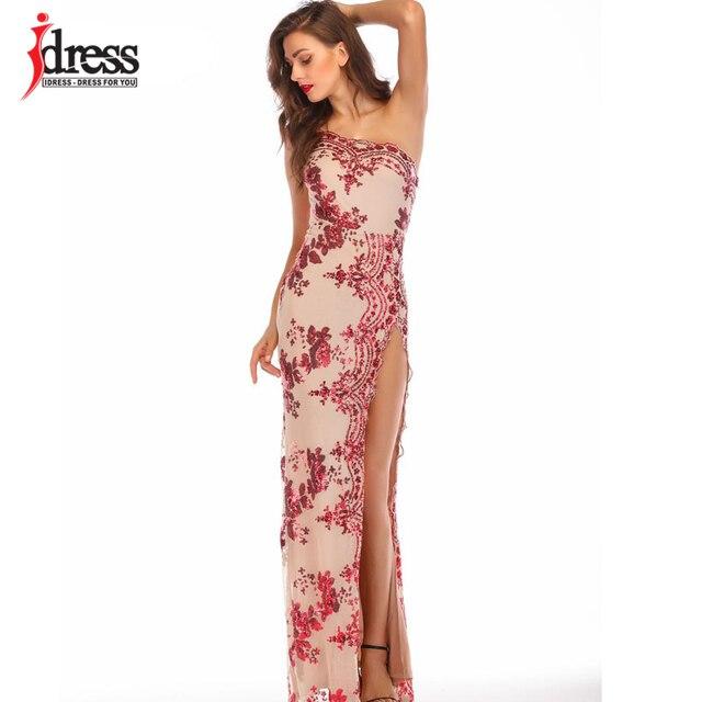 IDress Bölünmüş Parlak Elbiseler Zemin Pullu Bir Omuz uzun elbise için Kadın Vestidos Verano 2019 Mujer Yüksek Yarık Elbiseler