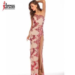 Image 1 - IDress פיצול מבריק שמלות על הרצפה נצנצים כתף אחת ארוך שמלת לנשים Vestidos Verano 2019 Mujer גבוהה פיצול שמלות