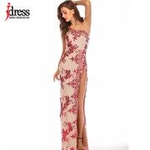 Блестящие платья IDress с разрезом в пол, длинное платье с блестками на одно плечо для женщин, Vestidos Verano 2019, женские платья с высоким разрезом