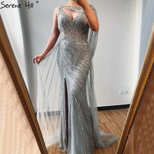 Image 3 - Serene Hill Sexy Champagne V neck Luxury Evening Dress 2020 Diamond Beading Sleeveless Mermaid Formal Party Gown CLA70301