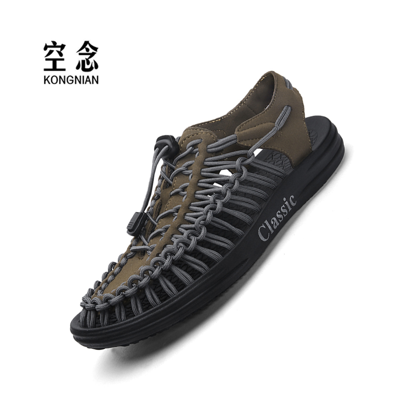 Summer Men's Sandals Roman Style Shoes Woven Features Men's Shoes Beach Shoes Waterproof Non-slip Men's Shoes Outdoor Casual Sho
