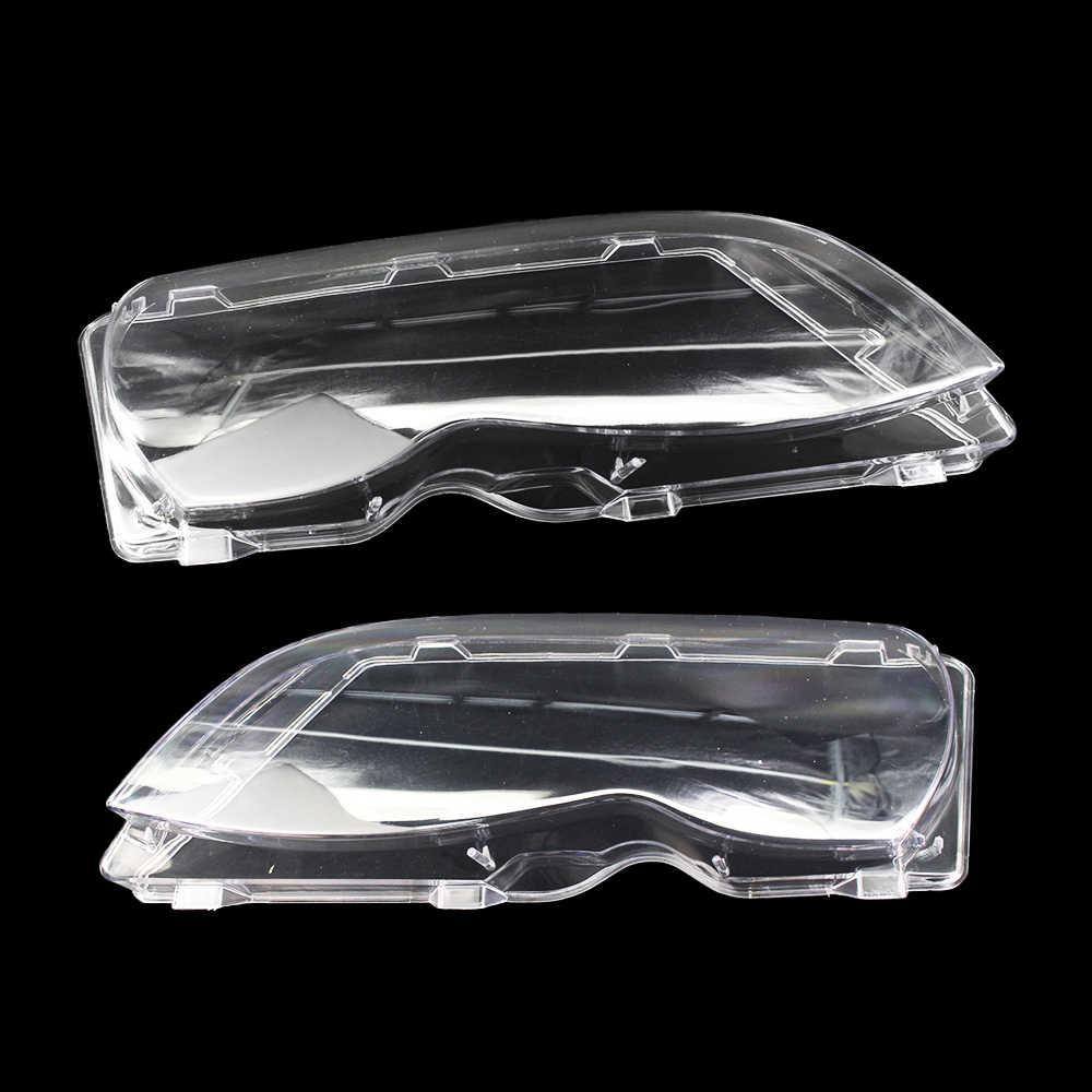 1 زوج سيارة عدسة المصباح الأمامي الزجاج غطاء عاكس الضوء قذيفة السيارات اكسسوارات السيارات واضح لسيارات BMW E46 3-series 4 باب 02-05