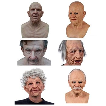 Scary Old Woman Wig Mask Old Man Mask Halloween Funny Old Man Adult Mask Creepy Wrinkle Face Mask Latex Cosplay Party Props halloween old man scary mask cosplay scary full head latex mask horror funny cosplay party mask old man head helmet masks