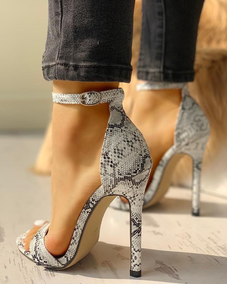 Snakeskin Open Toe Thin Heeled Sandals