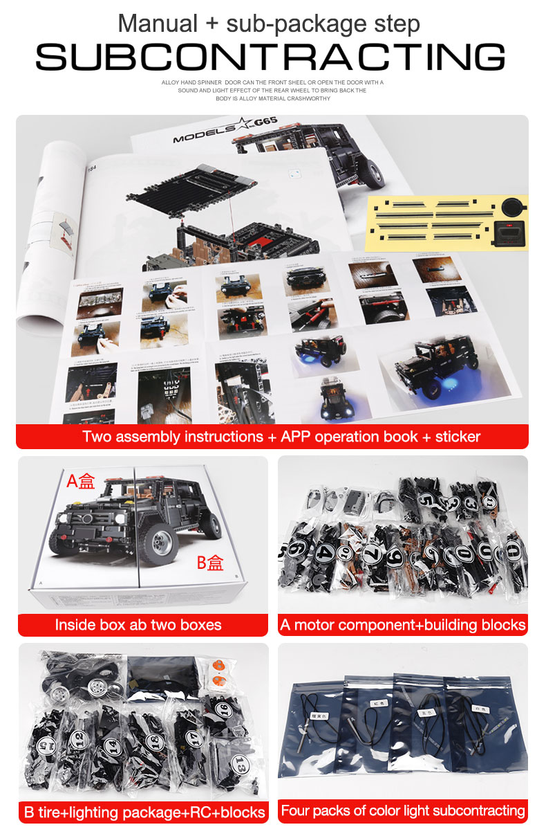 New APP RC G-Glass G500 AWD Wagon SUV Vehicle Fit Technic MOC 2425 Motor Power Function Building Blocks Bricks Toy Kid Birthday 35