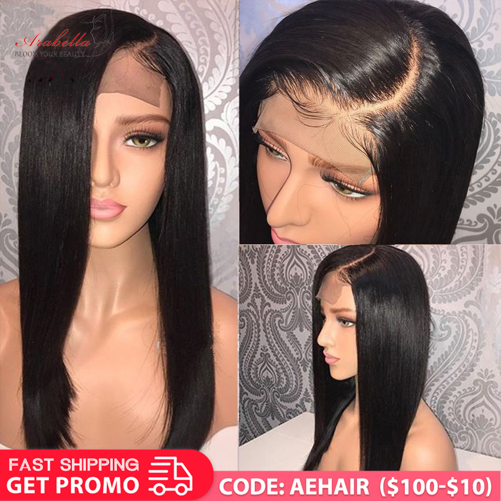 Peruvian Straight Hair Lace Closure Wig With Baby Hair Pre Plucked Arabella Remy 150 180 Density 4x4 Closure Wig Human Hair Wigs