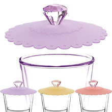 Couvercle de tasse en verre Silicone, joli diamant scellé Anti-poussière, tasse à café, capuchon de couvercle par aspiration, joints étanches