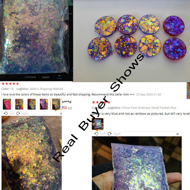 10G/Bag Holographic Mixed Hexagon Shape Chunky Nail Glitter Sequins Sparkly Flakes Slices Manicure Body/Eye/Face Glitter TCF2335 6