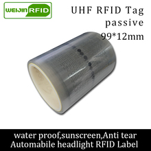 RFID tag UHF sticker automobile headlight EPC 6C 915mhz868mhz860-960MHZ M4QT waterproof adhensive passive RFID Windshield label uhf rfid tag heat and water resisting epc 6c 915mhz868mhz860 960mhz h3 20pcs free shipping smart passive pps rfid laundry button