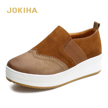 Spring Flat Platform Loafers Shoes Woman Cow Suede