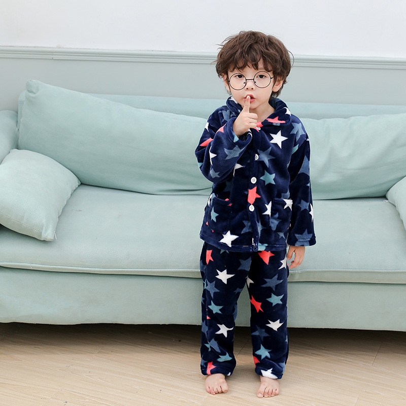 Winter Flannel Kids   Pajamas     Sets   Child Warm Sleepwear Cartoon CARTOON Print Baby Girls Boys nightwear Children   Pajamas   1-5 years