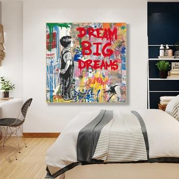 Dream Big Dreams Graffit Painting Printed on Canvas 2