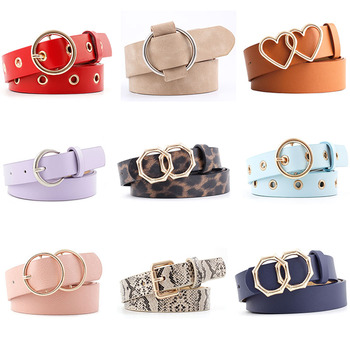 Fashion Belts For Women PU Leather Luxury Brand Candy Colors Golden Bucke Vintage Belt Jeans For Ladies Female Waistband 2020New