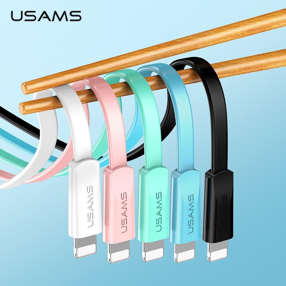 USAMS USB кабель для iPhone 8 кабель для синхронизации данных плоский кабель для iPhone XS MAX XR X 7 6 6s 5S SE 5 шнур для быстрой зарядки