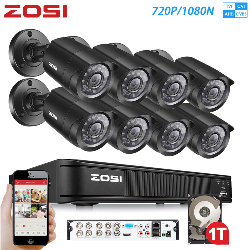 ZOSI <font><b>8CH</b></font> 720P 4-in-1 CVBS AHD CVI TVI Video Security System <font><b>CCTV</b></font> <font><b>DVR</b></font> 1TB outdoor Wetter Überwachung Sicherheit Kamera image
