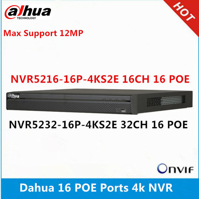 داهوا NVR5216 16P 4KS2E 16CH مع 16 poe & NVR5232 16p 4KS2E 32ch مع 16 منافذ بو ماكس دعم 12MP القرار 4K NVR القارئ