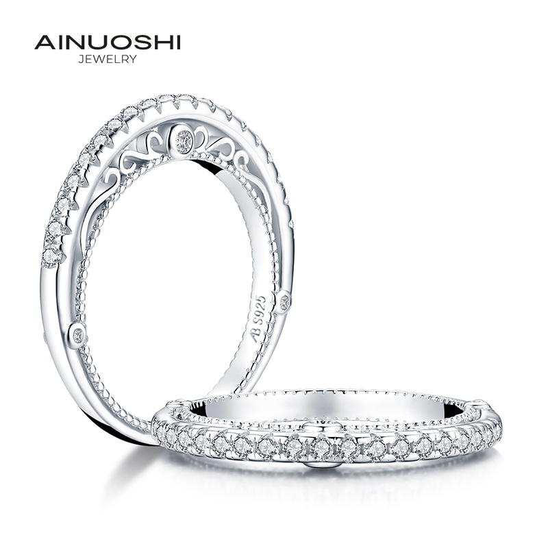 AINUOSHI Luxury 925 Sterling Silver Band Rings Women Engagement Simulated Diamond Princess Wedding Silver Bridal Rings Jewelry