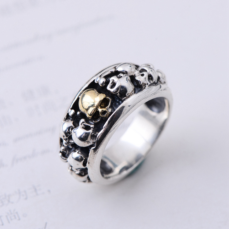 SA SILVERAGE Men's Jewelry Wedding Bands Sterling Silver Ring S925 Silver Domineering Men's Skull Punk Style Silver Ring Fashion