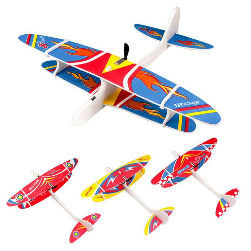 Kids Toys DIY Assembled Aircraft Fix Wing Durable EPP Foam Airplane Capacitor Glider Plane Model Birthday Toys For Children(China)