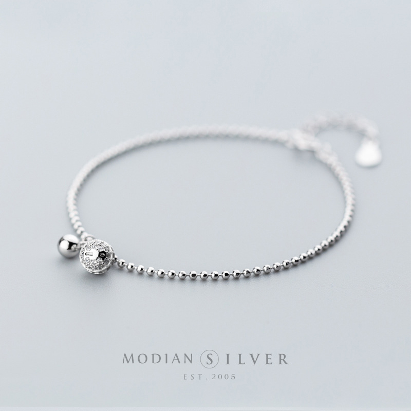 Modian 925 Sterling Silver Bell Shape Geometric Silver Beads Chain Bracelet Dazzling Clear CZ Chain Bracelets For Women Jewelry