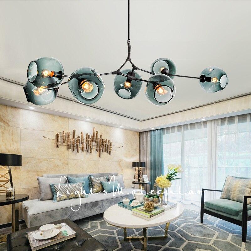 Nordic Modern LED Glass Chandelier Industrial Lamp Ceiling Chandelier Lighting For Living Room Bedroom Hanging Light Fixtures