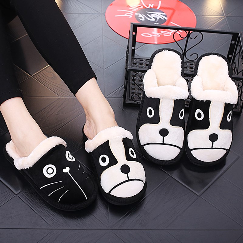 Cartoon Dog Cat Women Winter Home Slippers 3d Embroidery Non-slip Warm Men Women Boys Girls House Shoes Indoor Bedroom Slippers image