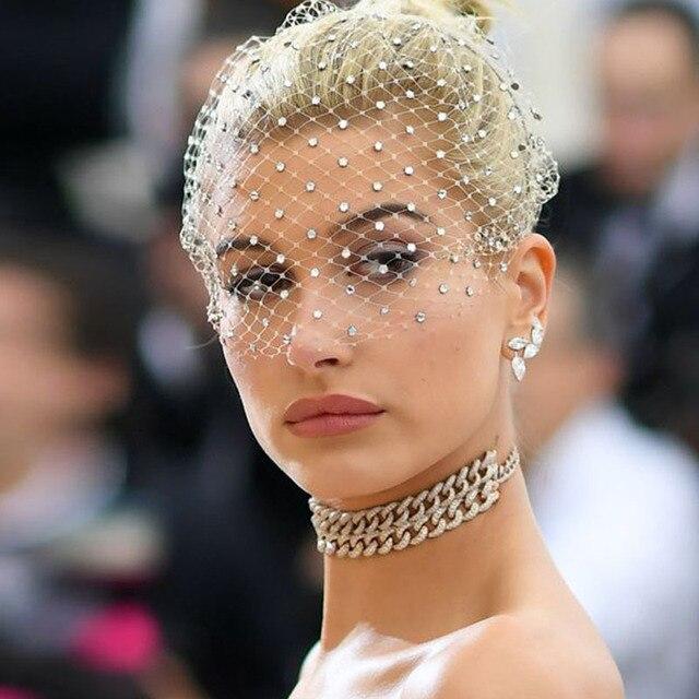 White Headband Veil for Bridal Crystal Birdcage Black Face Net Mask Hair Jewelry Accessories Veils Charming Wedding Fascinators 2