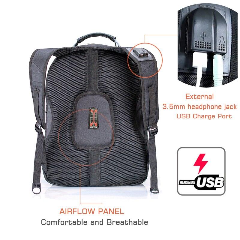 Crossten 17.3″ Laptop Backpack Waterproof USB Charge Port Swiss Multifunctional Rucksacks Schoolbag Mochila Hiking Travel bag