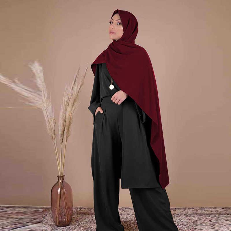 3 피스 Abaya 터키어 기모노 탑스 바지 이슬람 드레스 Abayas Hijab 가운 두바이 Caftan Kaftan 이슬람 의류 Djellaba