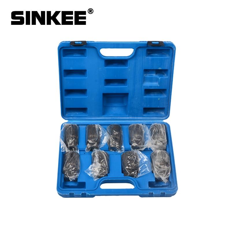 "9pc Axle Nut Socket Set 1/2"" Deep Drive 29 30 31 32 33 34 35 36 38mm Impact"