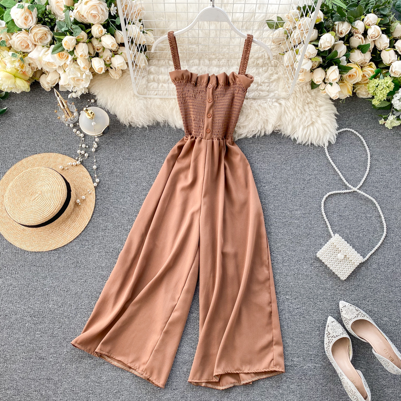 Teeuiear 2020 Boho Sexy Slim Button Spaghetti Strap Summer Full Length Jumpsuit Women Elastic Playsuit  Beach Holiday Romper