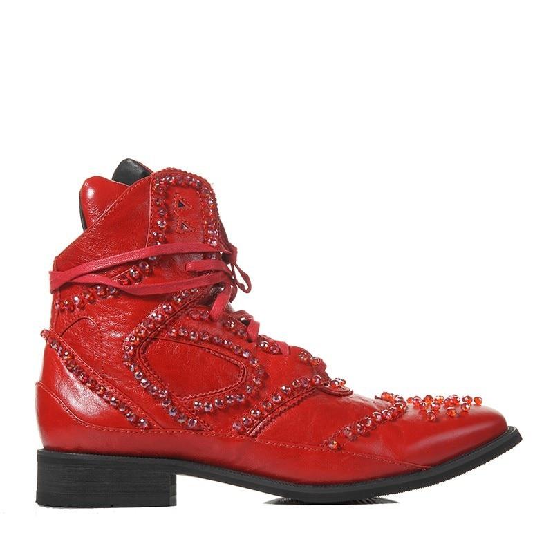 Hiver britannique bottes hommes Designer cristal perlé Vintage bottines pointues en cuir véritable Punk chaussures noir haut baskets - 4