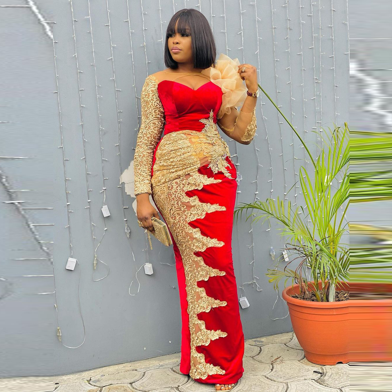 2021 Red Lace Aso Ebi Evening Dresses Long Sleeves Women Plus Size Velvet Prom Gowns Lace Appliques Sheer Party Gown