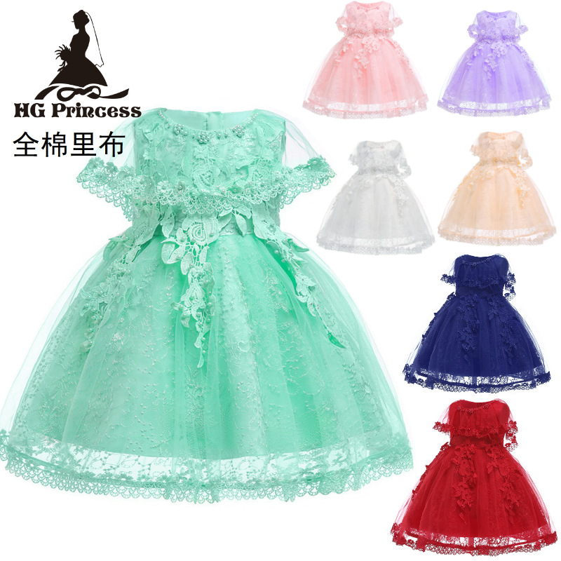 EBay Amazon Hot Selling Medium-small CHILDREN'S Dress 2019 New Style Europe And America Lace Princess Dress Puffy Mesh Dress Who
