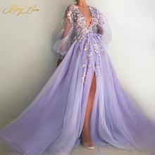 Женское вечернее платье с длинным рукавом лавандового цвета