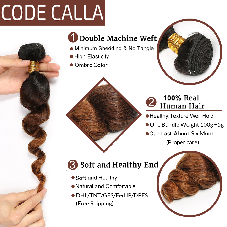 Code Calla Loose Wave Hair Bundles With Lace Frontal Ombre Color Free Part Brazilian Remy 100% Human Hair Weaving Extension