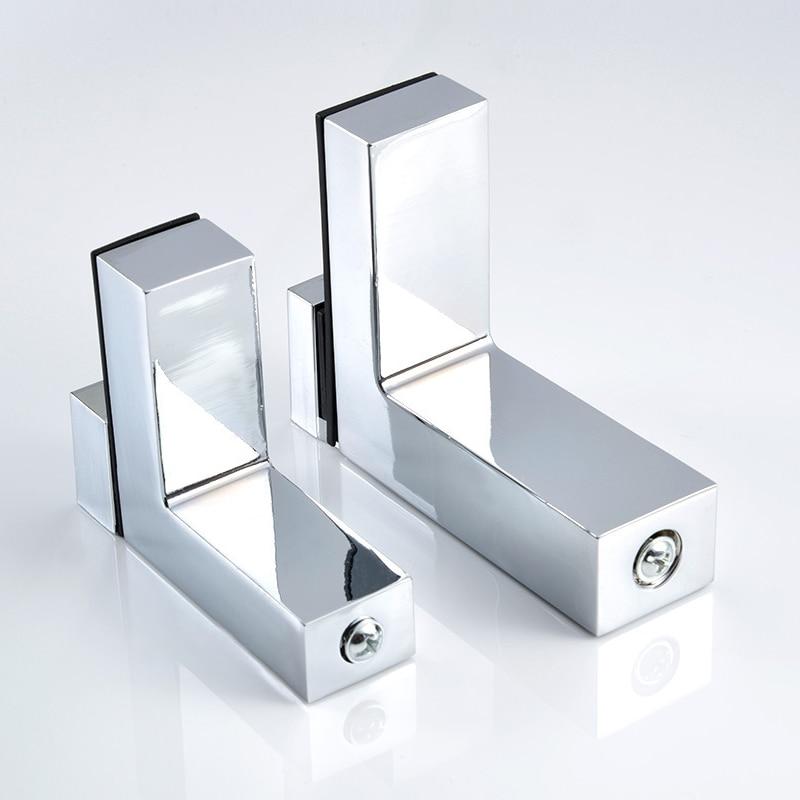 2pcs Adjustable Glass Clamp Solid Metal Wood/Glass Shelf Bracket Wall Mount Shelf Clamp Clip Furniture Hardware Fittings