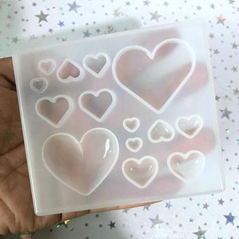 Kawaii żywica serce Cabochon silikonowe formy DIY suszone kwiaty biżuteria Charms narzędzie śliczne Mini Puffy serce UV wisiorek z żywicy formy tanie i dobre opinie INXIONGIN 7 8*8 9cm heart puffy heart square heart mini resin jewelry dries flower